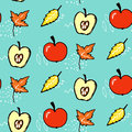 Autumn seamless pattern. Vector background with red apples and maple leaves. Royalty Free Stock Photo