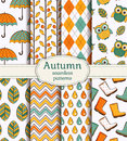 Autumn seamless patterns. Vector set. Royalty Free Stock Photo