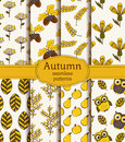 Autumn Seamless Patterns. Vect...
