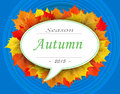 Autumn season 2015 on leaf cloud with blue background Royalty Free Stock Photo