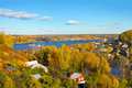Autumn season pless town in russia old small Stock Images