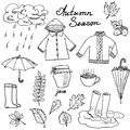 Autumn season set doodles elements. Hand drawn set with umprella cuo of hot tea, rain, rubber boots, clothes and leevs collection.