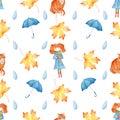 Autumn season symbols seamless watercolor raster pattern
