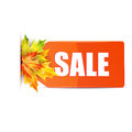 Autumn seasonal sale red price tag with the word decorated with maple leaves red label with maple leaves on white Stock Photo