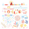 Autumn set bright with different elements on a white background Royalty Free Stock Photography