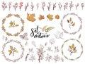 Autumn set of fall themed circle shaped frames