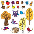 Autumn set a of hand drawn cartoon elements for great for scrapbooking Stock Image