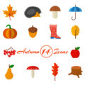 Autumn set of 14 icons in a flat style