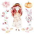 This autumn set included sweet girl,autumn leaves,branches,flower,beautiful pumpkin.