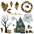 Autumn set, leaves tree, house with spider web and forest animals, watercolor