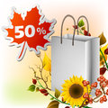 Autumn shopping bag with plants berries and sunflower in the corner leaf sticker for sale Stock Images