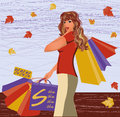 Autumn shopping girl Royalty Free Stock Images