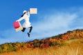 Autumn Shopping Woman Jumping