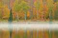Autumn shoreline alberta lake in fog michigan s upper peninsula usa Stock Photography