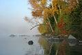 Autumn shoreline haliburton ontario Fotografie Stock