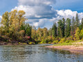 Autumn in siberia landscape with forest and river Royalty Free Stock Photos
