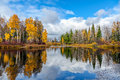 Autumn in siberia nice landscape with forest lake Royalty Free Stock Images