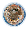 Autumn skyline of rome from aventine hill little planet urban spherical italy isolated on white background Royalty Free Stock Image