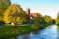 Autumn in slupsk cool river at sunset Royalty Free Stock Photo