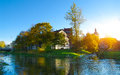 Autumn in slupsk historic houses Royalty Free Stock Photography