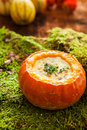 Autumn soup with pumpkin roasted parmesan Royalty Free Stock Photos