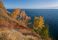 Autumn in the south of lake baikal circum railroad Royalty Free Stock Photography
