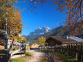 Autumn in south tyrol a rural village the funes valley val di funes with the background the odle dolomites mountain peaks Royalty Free Stock Image