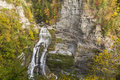 Autumn splendor at lucifer falls in seen from the overlook in robert h treman state park in trumansburg new york Stock Photo