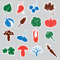 Autumn stickers color icons and eps Stock Image