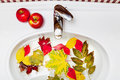 Autumn still life in bathroom. Wash leaves, apples