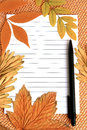 Autumn still life blank sheet of paper and a pen on a leaf background Stock Photo