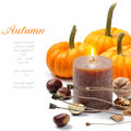 Autumn still-life with candle Royalty Free Stock Images