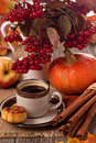 Autumn still life with coffee cinnamon and pumpkin Stock Photo