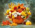 Autumn still life. Flower, fruit and vegetables. Royalty Free Stock Photo