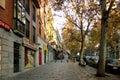 Autumn street scene in Madrid Royalty Free Stock Photo
