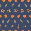 Autumn Sunflowers, pumpkins, corn plant, wheat, crop on blue background. Seamless repeating vector pattern. Fall Royalty Free Stock Photo
