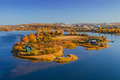 Autumn sunny island in the city of irkutsk on the angara river view from the new bridge Royalty Free Stock Photography