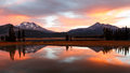 Autumn Sunrise Reflection at Sparks Lake, Oregon Royalty Free Stock Photo