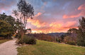 Autumn sunset blue mountains nsw australia fiery clouds an in the Royalty Free Stock Image