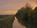 Autumn sunset on the Great Fen Project. Royalty Free Stock Photography