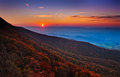 Autumn sunset over the Shenandoah Valley and Appalachian Mountai Royalty Free Stock Photo