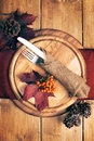 Autumn table setting Arkivfoton