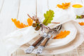 Autumn table setting Photo libre de droits