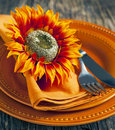 Autumn table setting Fotografia Stock Libera da Diritti