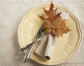 Autumn table setting decorated with maple leaves and acorn Royalty Free Stock Photography