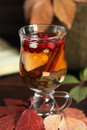 Autumn tea with lemon, spices in glass cup closeup Royalty Free Stock Photo