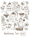 Autumn teatime. Beautiful card with hand drawn elements for tea party Royalty Free Stock Photo