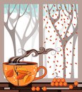 Autumn teatime. Cup of tea on the window sill Royalty Free Stock Photo