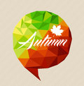 Autumn text fall leaf social bubble shape eps file background and over colorful season triangle media vector with transparency for Royalty Free Stock Photography