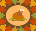 Autumn thanksgiving day background with cooked tu turkey vector Royalty Free Stock Image